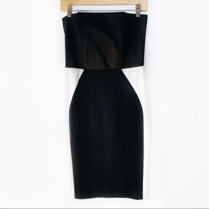 Venus Black White Strapless Color Block Dress 6